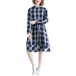 Large Size Loose Looking Thin Western Style Mid-length Plaid Dress (Color:As Show Size:M)