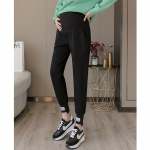 Fashion Casual Sports Trousers Pregnant Women Pants Autumn Trendy Mom Autumn Clothes (Color:Black Size:M)