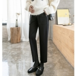 Fashion Trendy Mom Straight Loose Wide Leg Pants Casual Leggings Autumn And Winter Models Autumn Clothes (Color:Black Cropped Trousers Size:M)