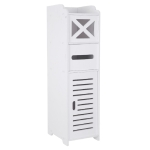[UK Warehouse] PVC Toilet Cross Paper Towel Narrow Cabinet with Two Storage Cabinets, size: 20x25x74cm