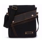 AUGUR 9088 Retro Vertical Style Canvas Shoulder Messenger Crossby Bag(Black)
