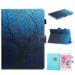 For iPad 9.7 (2017/2018) & Air 2 & Air Colored Drawing Stitching Horizontal Flip Leather Case with Holder & Card Slots & Sleep / Wake-up Function(Tree)