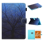 For iPad Mini 2019 & 4 & 3 & 2 & 1 Colored Drawing Stitching Horizontal Flip Leather Case with Holder & Card Slots & Sleep / Wake-up Function(Tree)