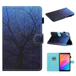 For Huawei MatePad T8 Colored Drawing Stitching Horizontal Flip Leather Case with Holder & Card Slots & Sleep / Wake-up Function(Tree)