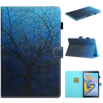 For Samsung Galaxy Tab S5e(2019)SM-T720/T725 Colored Drawing Stitching Horizontal Flip Leather Case with Holder & Card Slots & Sleep / Wake-up Function(Tree)