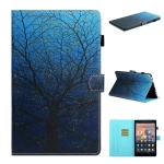 For Amazon Kindle Fire HD 10 Colored Drawing Stitching Horizontal Flip Leather Case with Holder & Card Slots & Sleep / Wake-up Function(Tree)