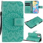 For iPhone 12 Pressed Printing Sunflower Pattern Horizontal Flip PU Leather Case Holder & Card Slots & Wallet & Lanyard(Green)