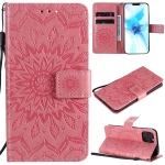 For iPhone 12 Max / 12 Pro Pressed Printing Sunflower Pattern Horizontal Flip PU Leather Case Holder & Card Slots & Wallet & Lanyard(Pink)