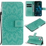For iPhone 12 Pro Max Pressed Printing Sunflower Pattern Horizontal Flip PU Leather Case Holder & Card Slots & Wallet & Lanyard(Green)