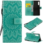 For LG G9 Pressed Printing Sunflower Pattern Horizontal Flip PU Leather Case Holder & Card Slots & Wallet & Lanyard(Green)