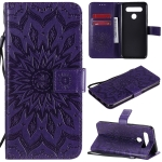 For LG K41S & K51S Pressed Printing Sunflower Pattern Horizontal Flip PU Leather Case Holder & Card Slots & Wallet & Lanyard(Purple)
