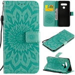 For LG K51 Pressed Printing Sunflower Pattern Horizontal Flip PU Leather Case Holder & Card Slots & Wallet & Lanyard(Green)
