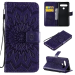 For LG K61 Pressed Printing Sunflower Pattern Horizontal Flip PU Leather Case Holder & Card Slots & Wallet & Lanyard(Purple)