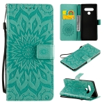For LG Stylo 6 Pressed Printing Sunflower Pattern Horizontal Flip PU Leather Case Holder & Card Slots & Wallet & Lanyard(Green)