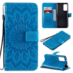 For Huawei Honor X10 Pressed Printing Sunflower Pattern Horizontal Flip PU Leather Case Holder & Card Slots & Wallet & Lanyard(Blue)