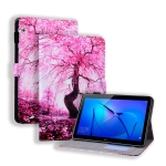 Huawei MediaPad T3 10 Coloured Drawing Horizontal Flip Leather Case with Holder & Card Slot & Photo Frame(Cherry Tree)
