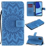 For OPPO A52 / A72 / A92 Sun Embossing Pattern Horizontal Flip Leather Case with Card Slot & Holder & Wallet & Lanyard(Blue)