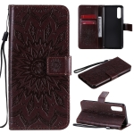 For OPPO Reno3 Pro 4G Sun Embossing Pattern Horizontal Flip Leather Case with Card Slot & Holder & Wallet & Lanyard(Brown)