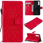 For OPPO Find X2 Lite / Reno3 5G Sun Embossing Pattern Horizontal Flip Leather Case with Card Slot & Holder & Wallet & Lanyard(Red)