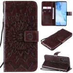 For OPPO Reno3 Pro / Find X2 Neo Sun Embossing Pattern Horizontal Flip Leather Case with Card Slot & Holder & Wallet & Lanyard(Brown)