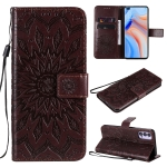 For OPPO Reno4 5G Sun Embossing Pattern Horizontal Flip Leather Case with Card Slot & Holder & Wallet & Lanyard(Brown)