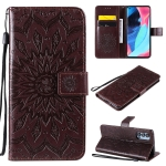 For OPPO Reno4 Pro 5G Sun Embossing Pattern Horizontal Flip Leather Case with Card Slot & Holder & Wallet & Lanyard(Brown)