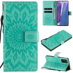 For Samsung Galaxy Note20 5G Sun Embossing Pattern Horizontal Flip Leather Case with Card Slot & Holder & Wallet & Lanyard(Green)