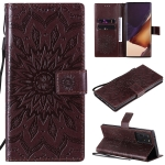 For Samsung Galaxy Note20 Ultra 5G Sun Embossing Pattern Horizontal Flip Leather Case with Card Slot & Holder & Wallet & Lanyard(Brown)
