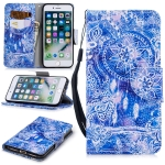 For iPhone 8 / 7 Colored Drawing Pattern Horizontal Flip TPU + PU Leather Case with Holder & Card Slots & Wallet & Lanyard(Blue Wind Chimes)