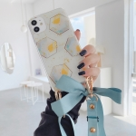 For iPhone 11 Pro Max Ribbon Bow Geometric Pattern Glitter TPU Shockproof Case with Neck Strap(Hexagon)