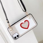 For iPhone 11 Pro Max Heart Pattern PU + TPU + PC Case with Card Slot & Shoulder Strap(White)