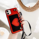 For iPhone 11 Heart Pattern PU + TPU + PC Case with Card Slot & Shoulder Strap(Red + Black)