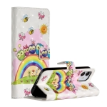 For iPhone 12 Max / Pro 3D Painted Pattern Horizontal Flip Leather Case with Holder & Card Slots & Photo Frame & Wallet(Rainbow Cat Family)