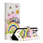 For iPhone 12 Pro Max 3D Painted Pattern Horizontal Flip Leather Case with Holder & Card Slots & Photo Frame & Wallet(Rainbow Cat Family)