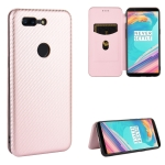 For OnePlus 5T Carbon Fiber Texture Magnetic Horizontal Flip TPU + PC + PU Leather Case with Card Slot(Pink)