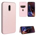 For OnePlus 6T Carbon Fiber Texture Magnetic Horizontal Flip TPU + PC + PU Leather Case with Card Slot(Pink)
