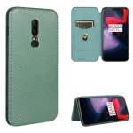 For OnePlus 6 Carbon Fiber Texture Magnetic Horizontal Flip TPU + PC + PU Leather Case with Card Slot(Green)