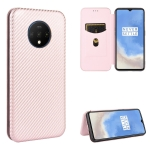 For OnePlus 7T Carbon Fiber Texture Magnetic Horizontal Flip TPU + PC + PU Leather Case with Card Slot(Pink)