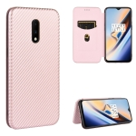 For OnePlus 7 Carbon Fiber Texture Magnetic Horizontal Flip TPU + PC + PU Leather Case with Card Slot(Pink)