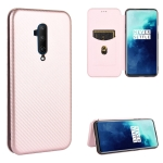 For OnePlus 7T Pro Carbon Fiber Texture Magnetic Horizontal Flip TPU + PC + PU Leather Case with Card Slot(Pink)