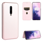 For OnePlus 7 Pro Carbon Fiber Texture Magnetic Horizontal Flip TPU + PC + PU Leather Case with Card Slot(Pink)