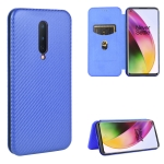For OnePlus 8 Carbon Fiber Texture Magnetic Horizontal Flip TPU + PC + PU Leather Case with Card Slot(Blue)