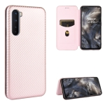For OnePlus Nord Carbon Fiber Texture Magnetic Horizontal Flip TPU + PC + PU Leather Case with Card Slot(Pink)
