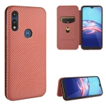 For Motorola Moto E(2020) Carbon Fiber Texture Magnetic Horizontal Flip TPU + PC + PU Leather Case with Rope & Card Slot(Brown)