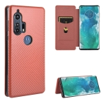 For Motorola Moto Edge Plus Carbon Fiber Texture Magnetic Horizontal Flip TPU + PC + PU Leather Case with Rope & Card Slot(Brown)