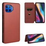 For Motorola Moto G 5G Plus Carbon Fiber Texture Magnetic Horizontal Flip TPU + PC + PU Leather Case with Rope & Card Slot(Brown)