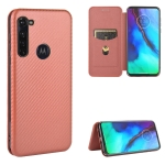 For Motorola Moto G Pro Carbon Fiber Texture Magnetic Horizontal Flip TPU + PC + PU Leather Case with Rope & Card Slot(Brown)