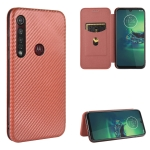 For Motorola Moto G8 Plus Carbon Fiber Texture Magnetic Horizontal Flip TPU + PC + PU Leather Case with Rope & Card Slot(Brown)