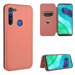 For Motorola Moto G8 Carbon Fiber Texture Magnetic Horizontal Flip TPU + PC + PU Leather Case with Rope & Card Slot(Brown)