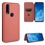 For Motorola Moto P40 Power / One Action Carbon Fiber Texture Magnetic Horizontal Flip TPU + PC + PU Leather Case with Rope & Card Slot(Brown)